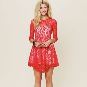 Free People red Floral Lace dress